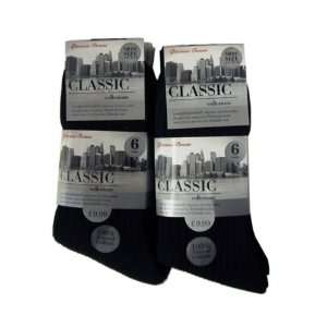 12 Pair Pack Mens 100% Cotton Classic Socks Black 6 11