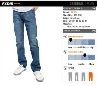 New Mens Casual straight leg washed denim jeans blue W29 W34 #MS