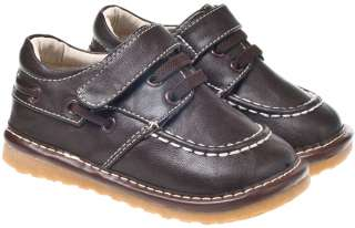 Boys Toddler Leather Squeaky Shoes Brown Wide Fit