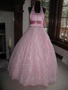 Perfect Angels 1392 Pink White Pageant Gown Dress 10