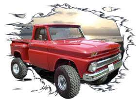 1966 Red Chevy 4X4 Pickup Truck Hot Rod SS T Shirt 66