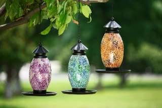 This mosaic glass and metal hanging bird feeder makes a beautiful