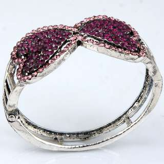 pink purple double heart love Tibet silver style vintage thin bangle