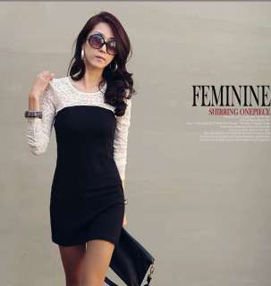 Asian Sizes L 3XL Women Lace Stitching Long Sleeve Slim Cut Mini Dress