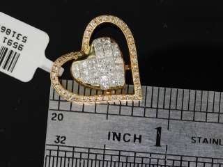 LADIES 14K YELLOW GOLD .98C DIAMOND HEART CHARM PENDANT