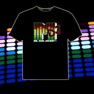 DJ Music Sound Activated LED Light Up and Down EL Cotton T Shirt wa