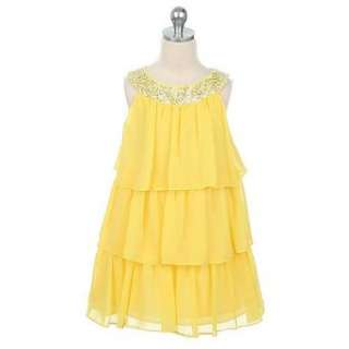 Sweet Kids Girls Yellow Tiered Sequined Easter Occasion