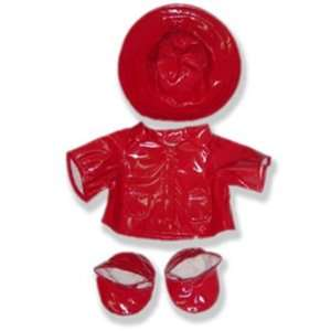 Red Rain Coat Outfit Teddy Bear Clothes Fit 14   18