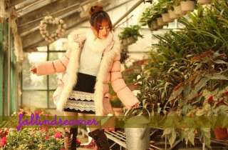 2011 New Womens Pink Coat Winter Warm Fox Fur Jacket S M L