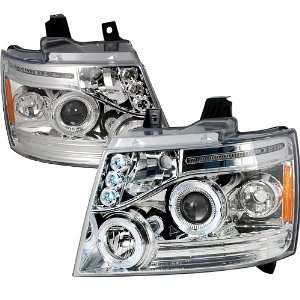 CHEVY AVALANCHE SUBURBAN HALO LED CHROME CLEAR PROJECTOR