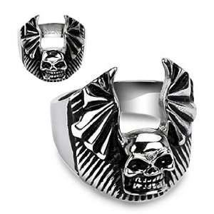 Steel Skull Bat Wing Ring   Size 9 West Coast Jewelry Jewelry