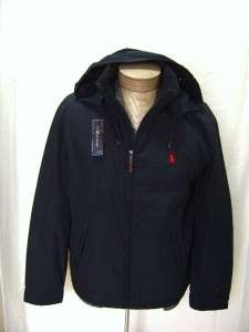 New L Polo Pony Ralph Lauren Mens Hooded Jacket Coat Zip Fleece Black