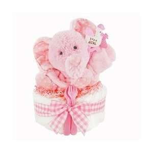 Gingham & Giggles One Tier Diaper Cake   Girl Baby