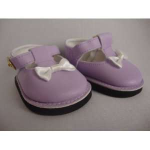 Pair of Purple Dress Shoes with White Bow Made to Fit the 18 Inch