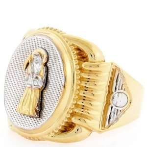 10k Two Tone Gold Religious Santa Muerte Oval Mens Ring Jewelry