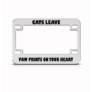 Cats Leave Paw Prints On Heart Metal Bike Motorcycle license plate