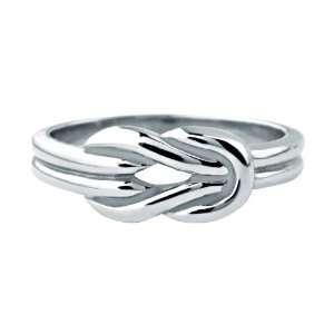 Womens Stainless Steel Ring with a Polished Knot On The Front   Size