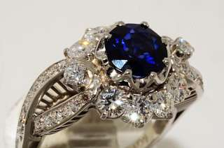 ANTIQUE ART DECO CEYLON SAPPHIRE & DIAMOND RING PLATINUM VS SIZE 7