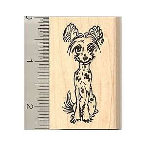 Chinese Crested Dog Rubber Stamp   Wood Mounted