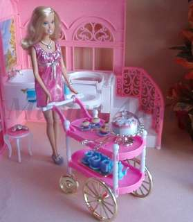 Cart for Barbie with birthday cake, cup cake, tea set, etc playful