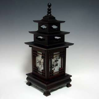 Wood Shade Asian Lantern Bedside Accent Desk Table Lamp