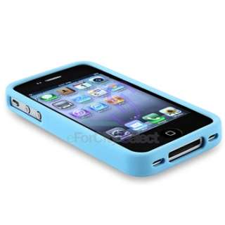 Sky Blue+Purple Bumper TPU Rubber Soft Case Cover For iPhone 4 4S 4GS
