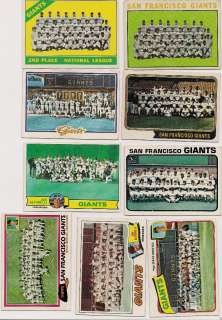 Topps 9 Different San Francisco Giant Team Cards 1964