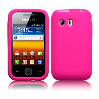 Pink Silicone Case Cover For Samsung Galaxy Y S5360 + Screen Protector
