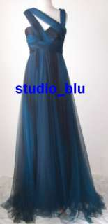 ELIE SAAB Blue Ombre Tulle Lace Silk Dress Gown 10