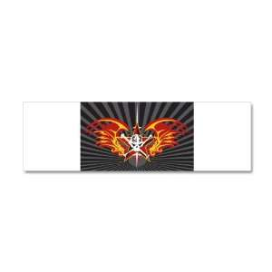 42 x 14 Wall Vinyl Sticker Star Skull Flaming Wings
