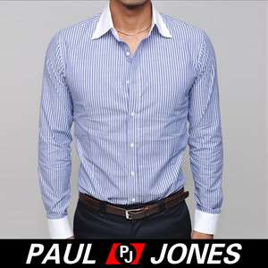 Handsome, P&J Men Slim Fit Stylish Strip Casual Dress Shirts PJ238