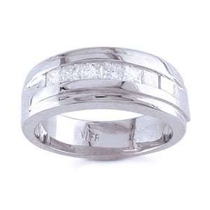 Mens 14k White Gold, Princess Diamond Wedding Ring (0.70
