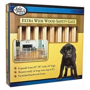 Four Paws Extra Wide Wood Safety Gate (53 96 W x 24 H