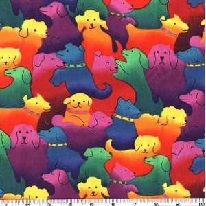 45 Wide Crazy Colorful Dogs Brites Fabric By The Yard