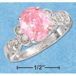PINK CUBIC ZIRCONIA CENTER STONE WITH FANCY CUBIC ZIRCONIA SHANK RING