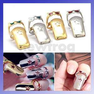 Colors Fashion Girl Lady Retro Punk Cool Finger Tips Nail Ring