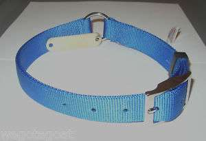 PLY NYLON DOG COLLAR BLUE R N C 23 FREE NAME PLATE