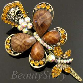 ADDL Item  antiqued rhinestone butterfly hair clamp clip