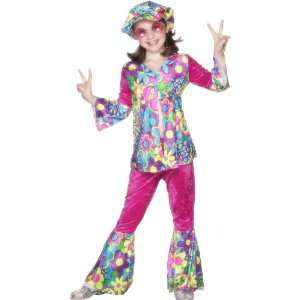 Smiffys Flower Power Hippie Costume With Hat   GirlS Toys & Games