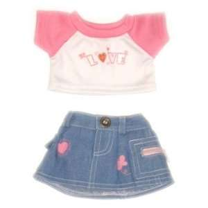 Love T Shirt & Jean Skirt Outfit Teddy Bear Clothes Fit 14