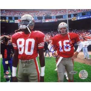 Signed Jerry Rice Picture   Jersey Joe Montana Red w8x10