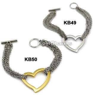 Womens Silver/Gold Heart Stainless Steel Charm Bracelet