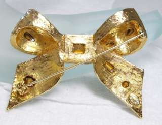 KENNETH JAY LANE KJL Rhinestone Encrusted Bow Shape Pin Brooch 2 1/4