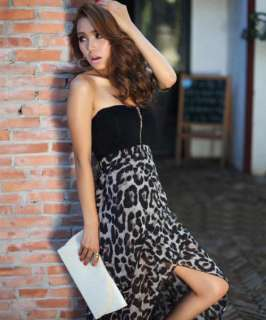 New Women Sexy Chiffon Bustier Party Maxi Dress Leopard Pattern Two