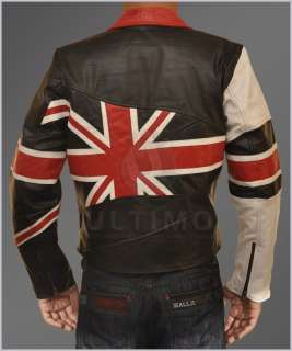 Flag Motorcycle Slim fit Leather Jacket Union Jack UK Flag Biker Style