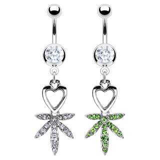 POT LEAF HEART BELLY NAVEL RING GEM PAVED CZ DANGLE BUTTON PIERCING