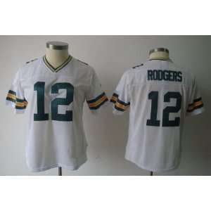 green bay packers #12 aaron rodgers white women jersey american