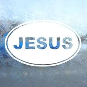Jesus Euro Ovel White Decal Car Laptop Window Vinyl White