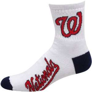 Washington Nationals White Navy Blue Dual Color Team Logo Crew Socks