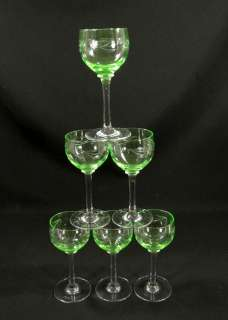 ART DECO BOHEMIAN CUT VASELINE GLASS WINE GOBLET STEM CUP SET~CHERRIES